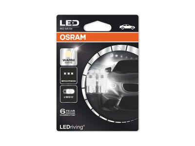 Комплект 2 броя LED лампи Osram тип W5W топло бели, 4000K, 12V, 1W, W2.1x9.5d