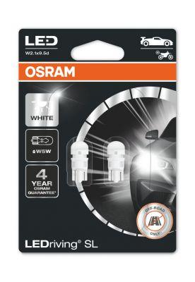 Комплект 2 броя LED лампи Osram тип W5W студено бели, 6000K, 12V, 1W, W2.1x9.5d