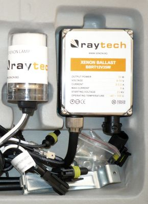 RayTech HB1/9004 - Ксенон система HB1/9004 ксенон+халоген за мотор AC тип 35W - 300% светлина, големи баласти, 24 м. пълна гаранция