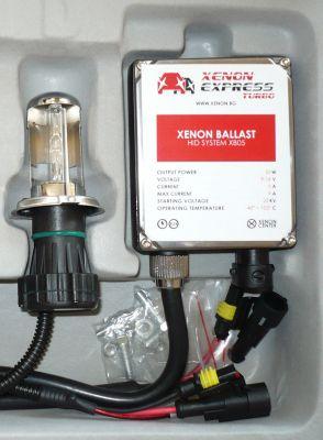 Xenon Express Turbo H4 - Ксенон система H4 биксенон за мотор AC тип 55W - 450% светлина, големи баласти, 12 м. пълна гаранция