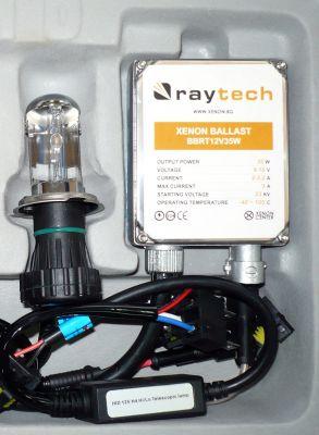RayTech H4 - Ксенон система H4 биксенон за мотор AC тип 35W - 300% светлина, големи баласти, 24 м. пълна гаранция